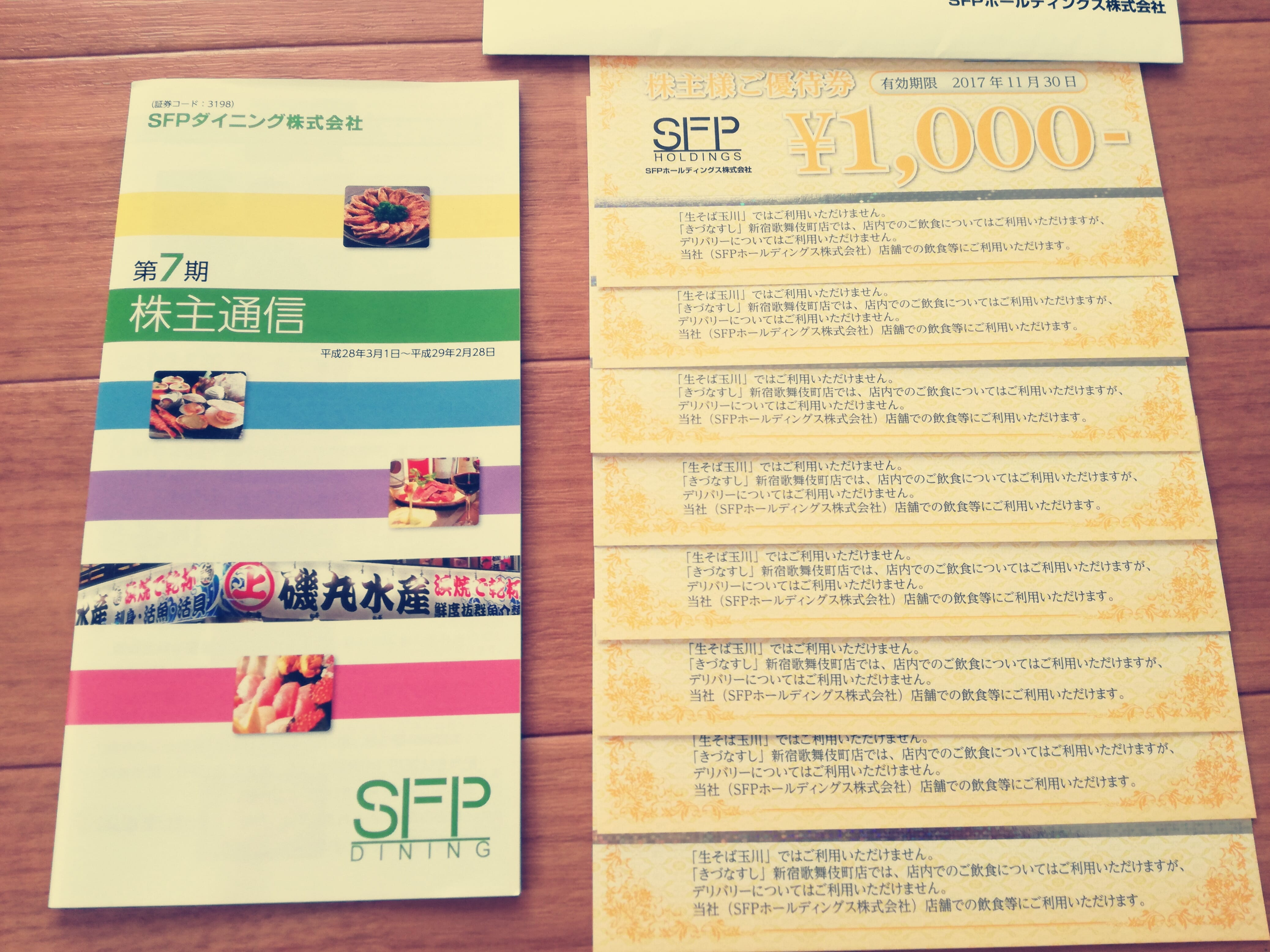 SFPホールディングス(3198)の株主優待券