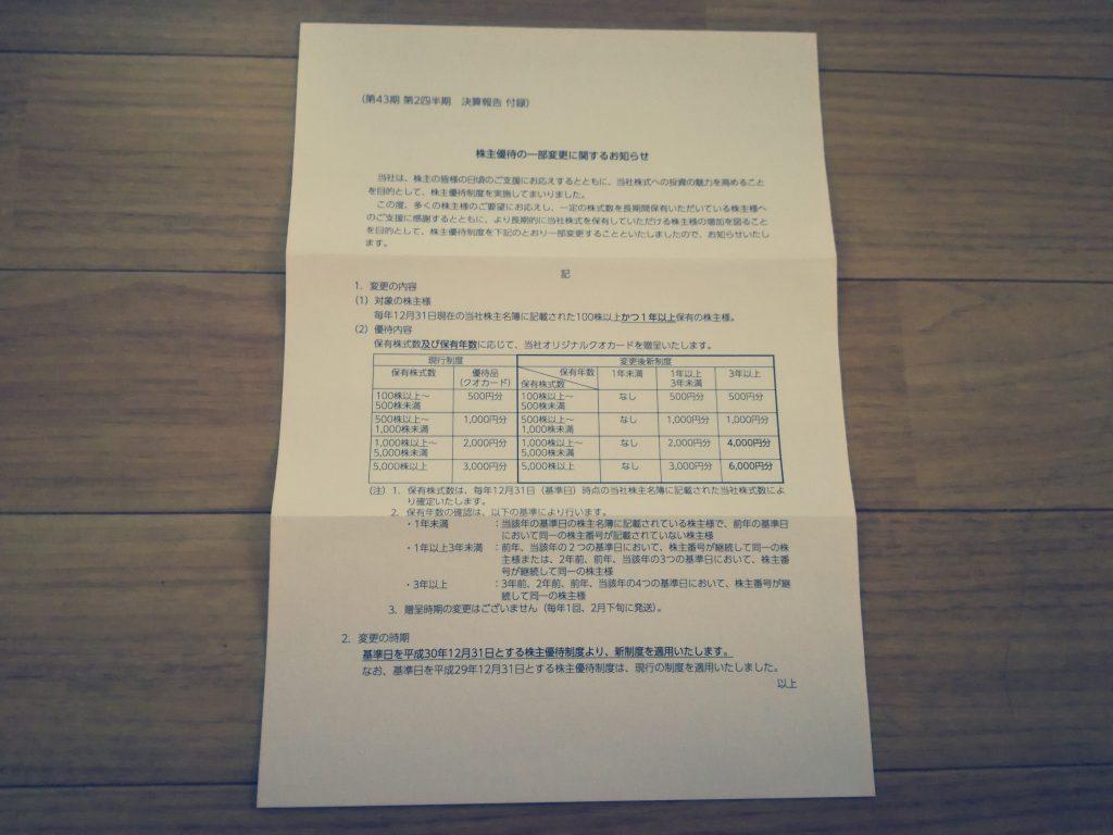 CIJ(4826)から500円の株主優待クオカード到着!次回から1年縛りがあるので要注意です