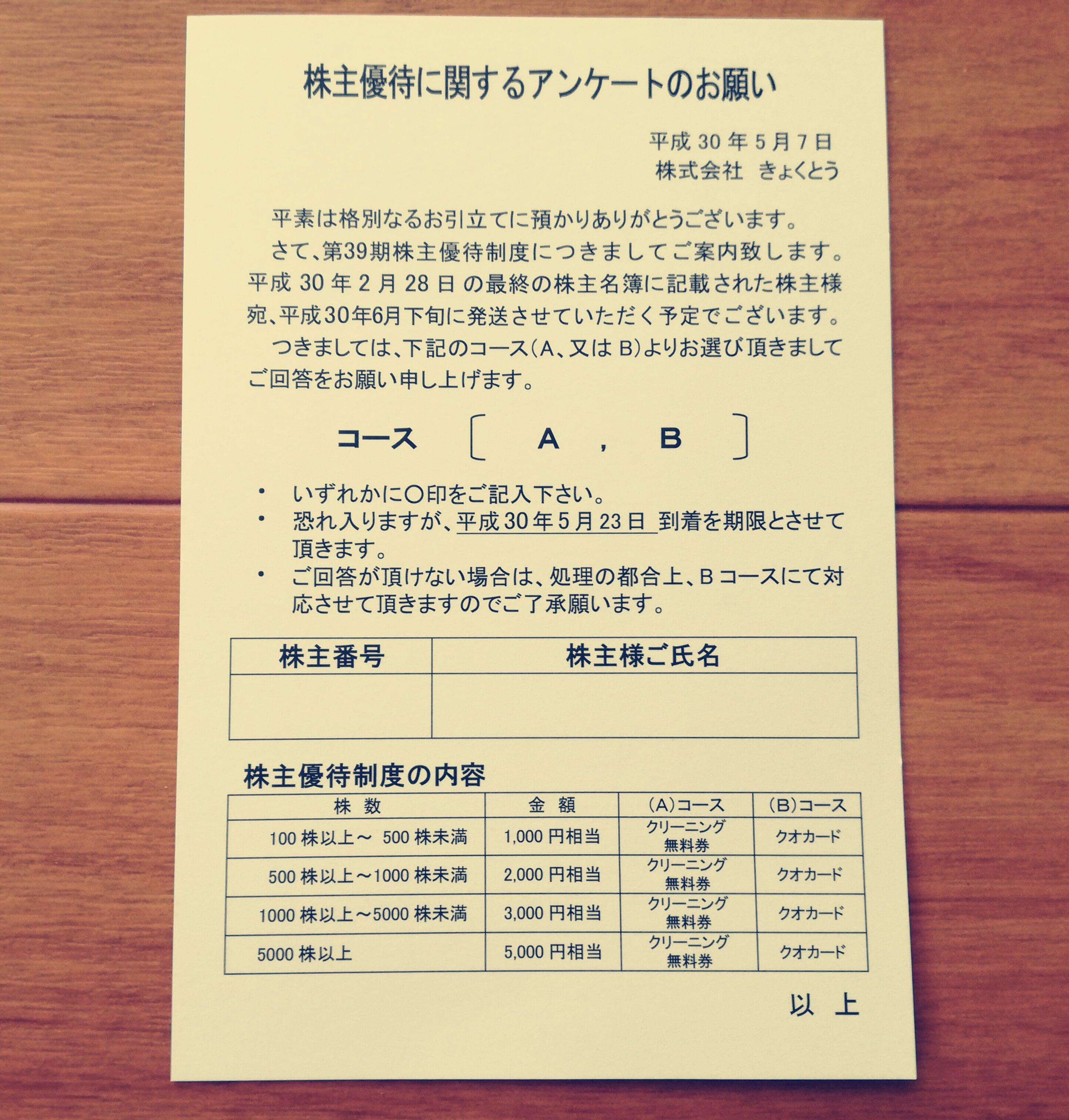 きょくとう(2300)の株主優待ハガキが到着!クオカードを選択します!