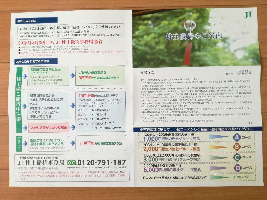 まだまだ含み損がなくならない日本たばこ産業/JT(2914)から株主優待案内到着!