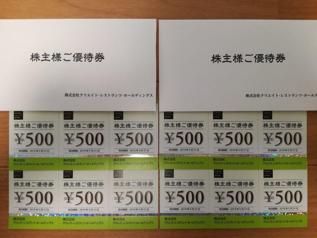 はーべすと、磯丸水産で使います!クリレス(3387)の株主優待券が6,000円分到着!