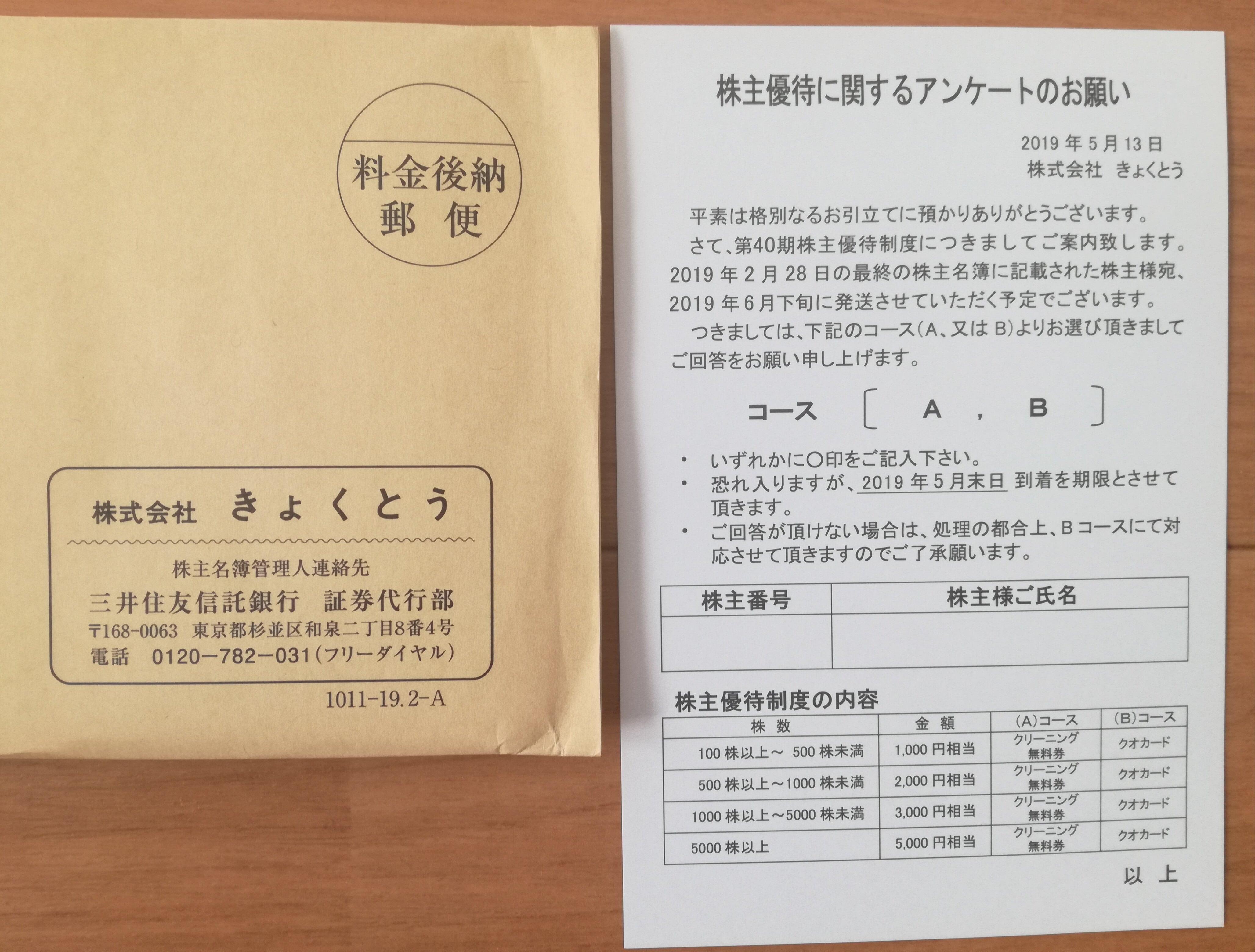 きょくとう(2300)の株主優待ハガキが到着!1000円のクオカードを選びます!