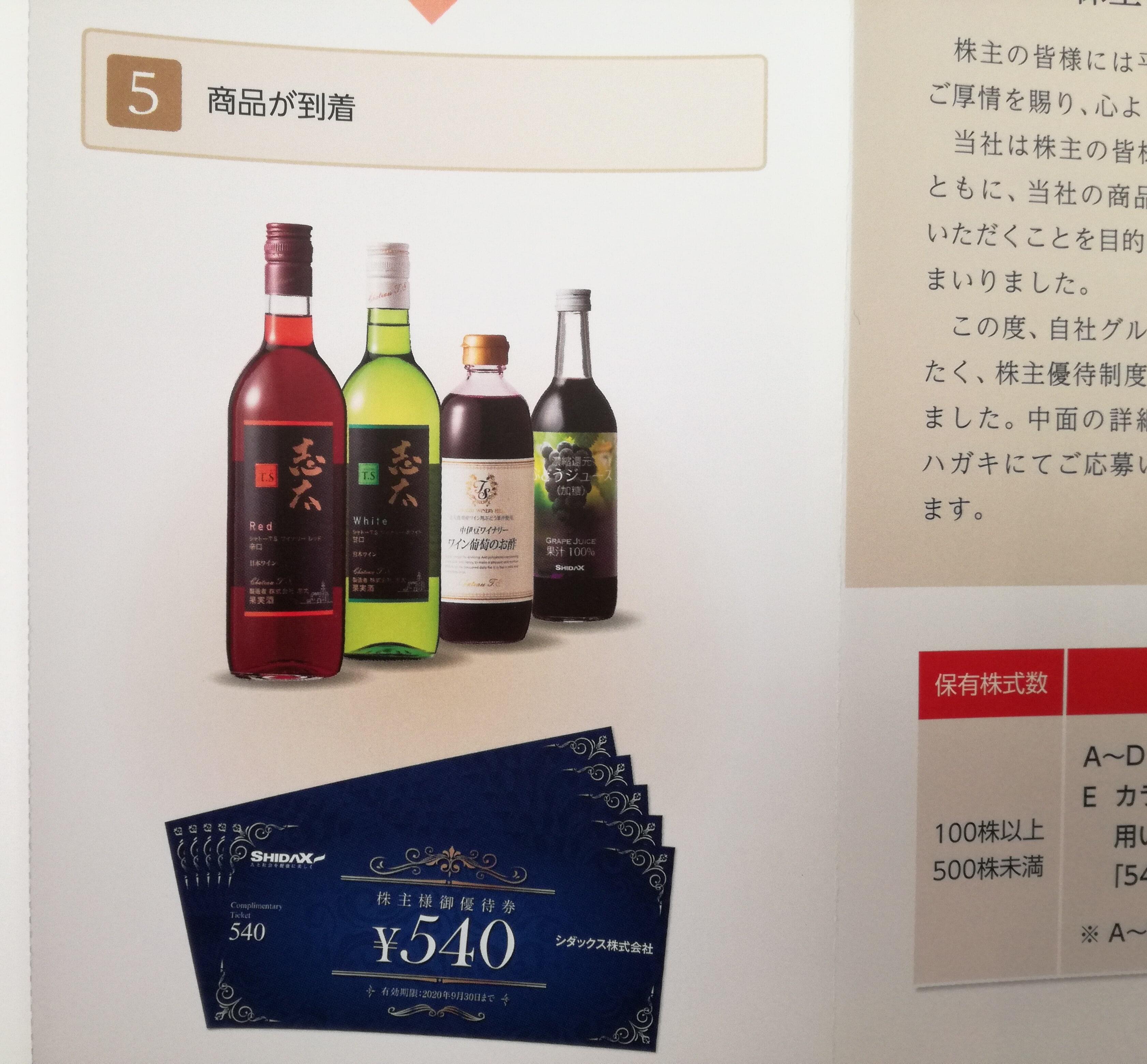 無配転落したシダックス(4837)の株主優待案内到着!株主優待券ではなく白ワインを選びます!