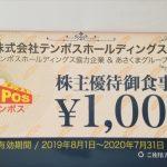 ステーキのあさくまで使えるテンポスホールディングス(2751)から株主優待券8,000円分到着!
