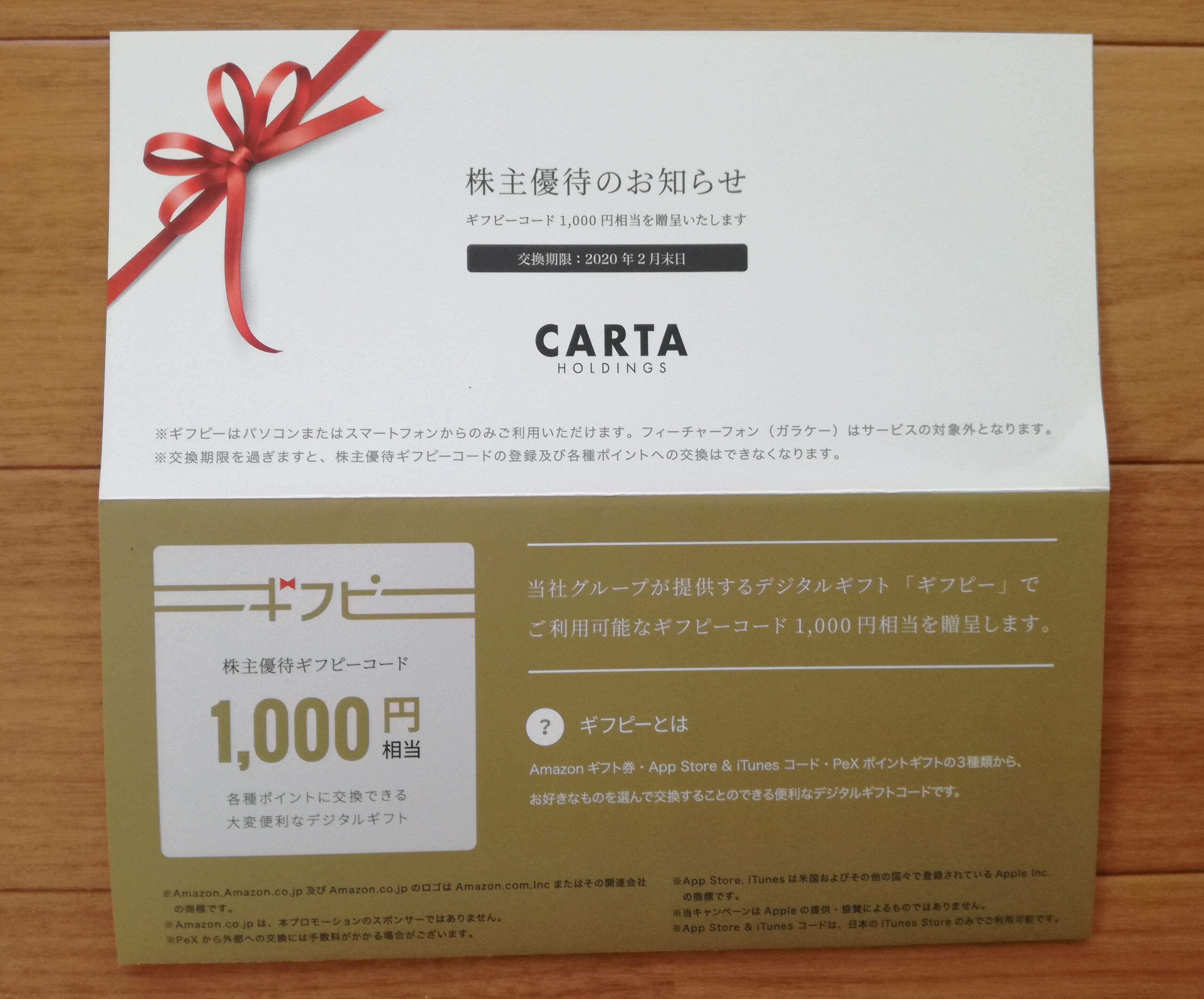 CARTA HOLDINGS(3688)の株主優待ギフピーコードが到着!Amazonギフト券と交換します!