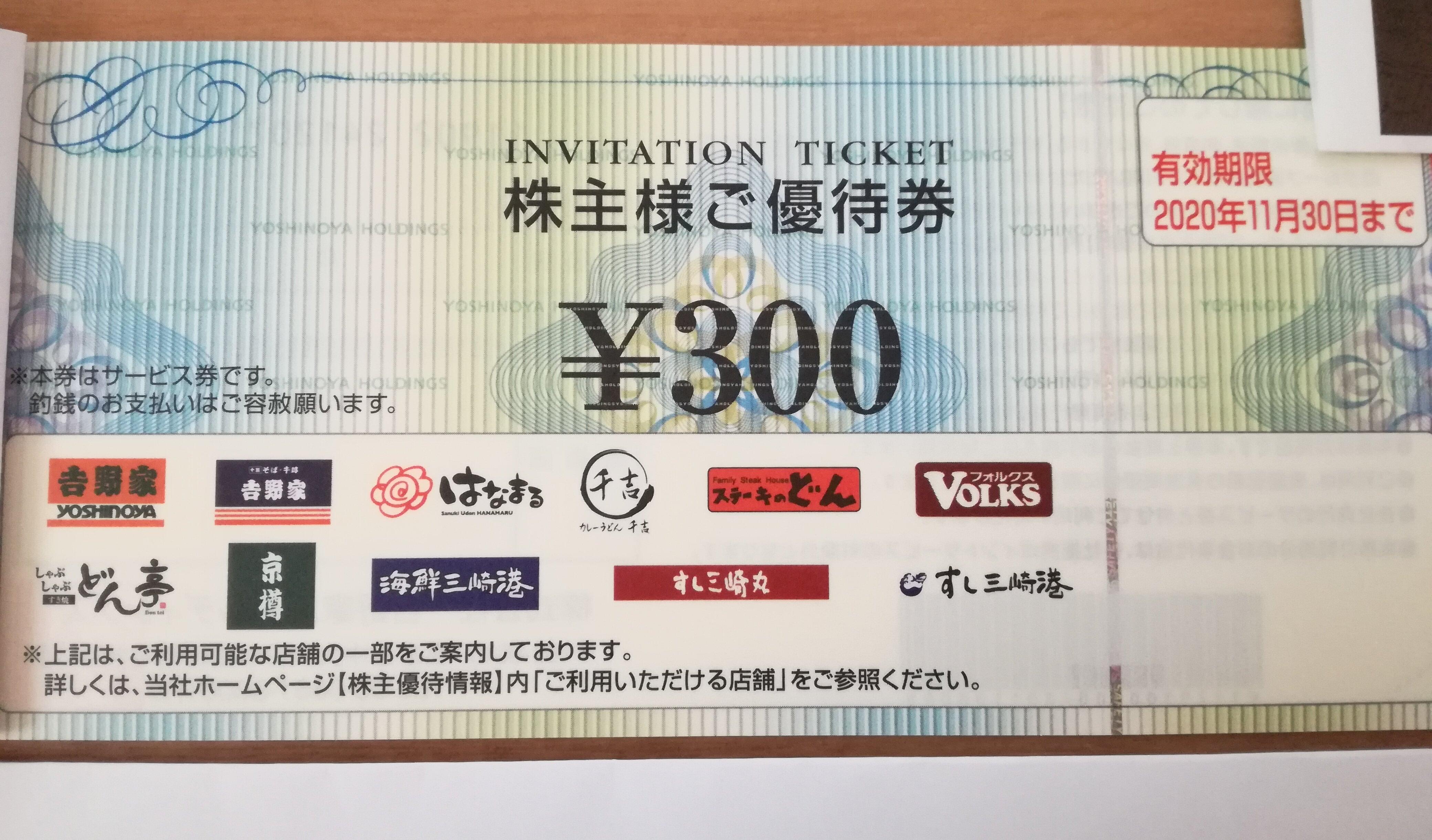 含み益16万円の吉野家ホールディングス(9861)の株主優待券到着!